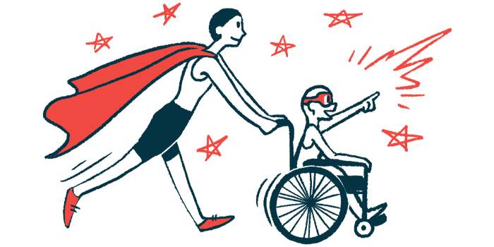 rare disease clinical trial participants | AHUS News | Illustration of woman in cape pushing child in wheelchair